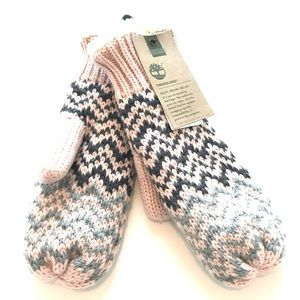 Timberland Fair Isle mittens peach and gray knit